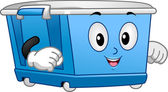 Wheeled Storage Bin Mascot — Stock Photo
