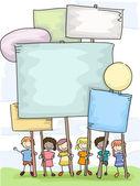 Stickman dzieci plackarads — Zdjęcie stockowe