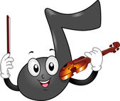 Music Note Mascot with Violin — Stock Photo