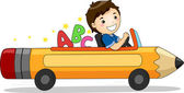 Boy Driving a Pencil Car with ABC — Stock Photo