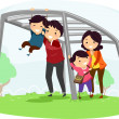 Family with Kids on Playing on a Monkey Bar — Foto Stock