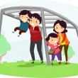 Family with Kids on Playing on a Monkey Bar — Stockfoto