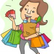 Woman with Shopping Bags and Shopping Coupons — Stock Photo