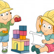 Boy and Girl Toddler Engineers — 图库照片