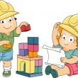 Stock Photo: Boy and Girl Toddler Engineers