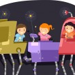 Kids Riding on a Robot — Stock Photo