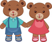 Toy Teddy Bears Holding hands — Stock Photo