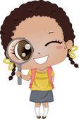 Little Girl holding Magnifying Glass 2 — Stock Photo