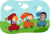 Kids riding in 123 Cars — Stock Photo