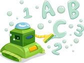 Robot Making 123 and ABC Bubbles — Stock Photo