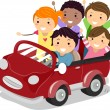 Kids on a Toy Car - Stock Photo