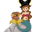 Mermaid with Candies on Treasure Chest - Stock Photo