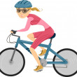 Girl Cycling for Triathlon - Stock Photo