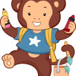 Monkey Carrying School Art Supplies — Stock Photo