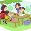 Family with Kids Drawing at the Park — Stock Photo #26420235
