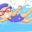 Little Girl Swimming - Stock Photo