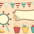 Retro Nautical Party Design Elements — Stock Photo