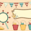 Retro Nautical Party Design Elements - Stock Photo