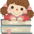 Rag Doll with Books — Stock Photo