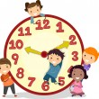 Kids on a Big Clock — Stock Photo