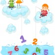 Kids on Clouds Fishing for Numbers at Sea — Stock Photo #26420401