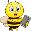 Bee Holding a Tablet Computer — Stock Photo