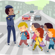 Kids Crossing the Street — Stock Photo