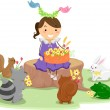Girl with a Basket of Flowers surrounded by Cute Animals — Stock Photo #26420431