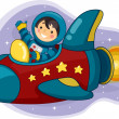 Stock Photo: Astronaut Boy Riding Space Ship