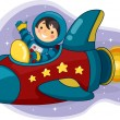 Astronaut Boy Riding a Space Ship — Stock Photo
