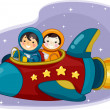 ������, ������: Girl and Boy Astronauts Riding a Space Ship