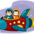 Постер, плакат: Girl and Boy Astronauts Riding a Space Ship
