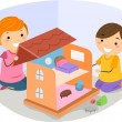 Stock Photo: Girls Playing with Dollhouse