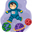 Astronaut Boy Jumping on Planets — Stock Photo #26420545