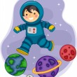 Astronaut Boy Jumping on Planets — Stock Photo