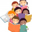 Стоковое фото: Illustration of StickmKids reading Books