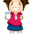 Girl Showing Tablet Vitamins with a Glas of Water — Stock Photo