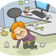 Stock Photo: Womin Messy Cubicle