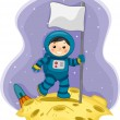 Astronaut Boy with a Flag on the Moon — Stock Photo