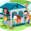 Kids on Outdoor Playhouse — Stock Photo #26420785
