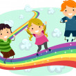 Kids on a Rainbow — Stock Photo