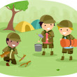 Boyscouts on Camping - Stock Photo