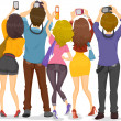 Back View of Teens with Cameras — Stock Photo