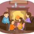 Family Fireplace — Stock Photo
