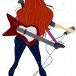 Back View of a Rockstar Teenage Girl — Foto de Stock