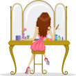 Back View of a Prom Queen facing a Mirror — Stock Photo