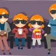 Family Watching a 3D or 4D Movie — Stock Photo #26421163