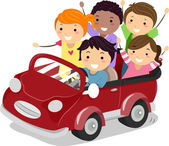 Kids on a Toy Car — Stock Photo