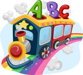 Rainbow Train with ABC — Stock Photo