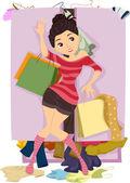 Teenage Girl with Overflowing Closet — Stock Photo